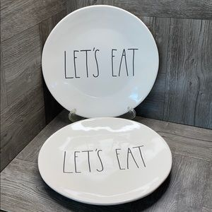 """Rae Dunn LET'S EAT 8"""" plates (set of 2) New! White"""